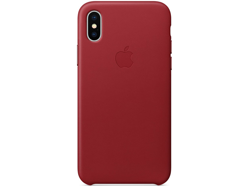 Накладка Apple Leather Case для iPhone X красный MQTE2ZM/A чехол для iphone x apple leather case mqte2zm a product red
