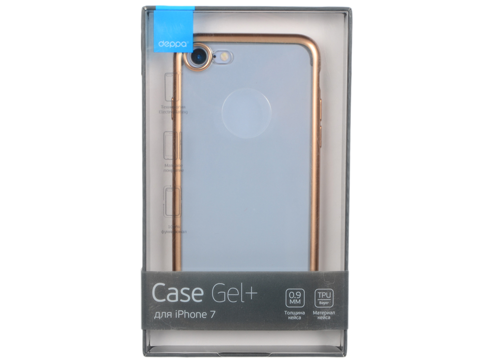 Чехол Deppa Gel Plus Case матовый для Apple iPhone 7 / iPhone 8, золотой, 85284 аксессуар чехол для apple iphone 7 plus 8 plus innovation silicone case purple 10627