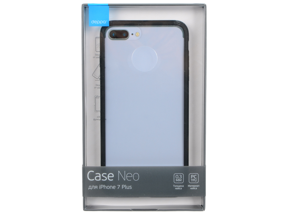 Чехол-накладка для Apple iPhone 7 Plus / iPhone 8 Plus Deppa Neo Case Black клип-кейс, полиуретан, поликарбонат deppa sky case чехол для apple iphone 6 plus gray