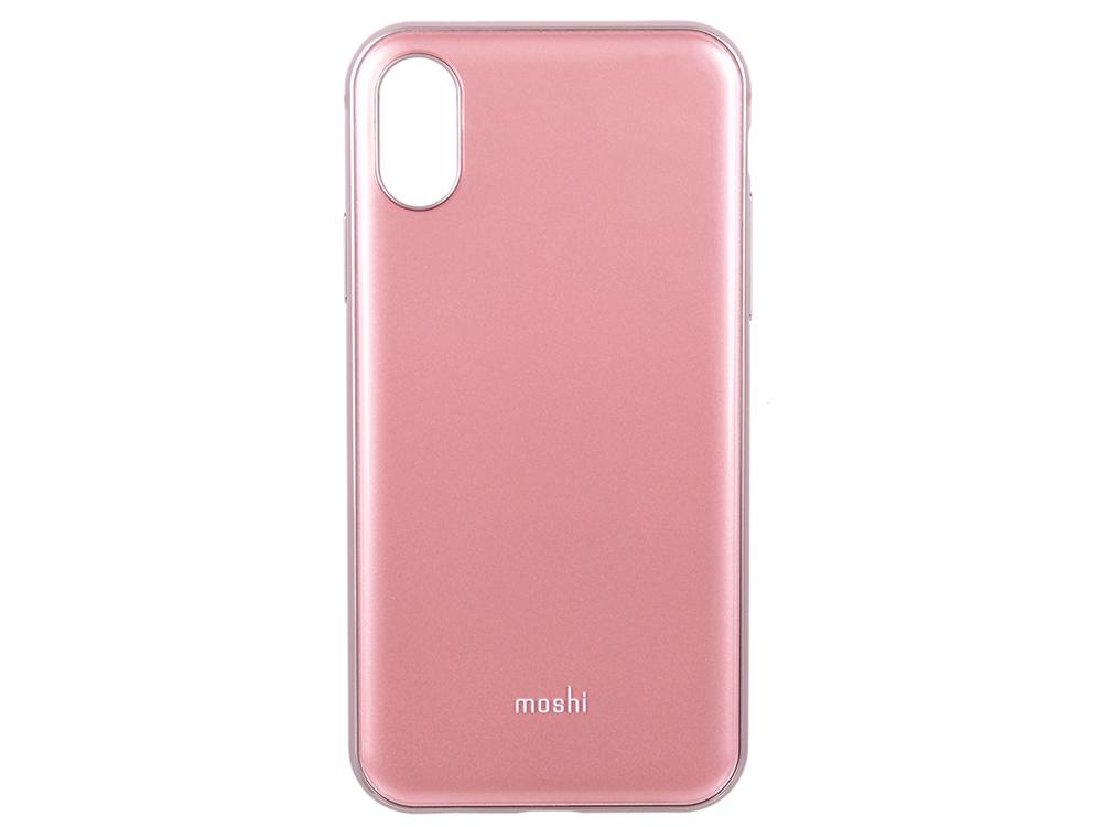 Чехол Moshi iGlaze для iPhone X. Сделан из ударопрочного пластика. Цвет: розовый. цена и фото