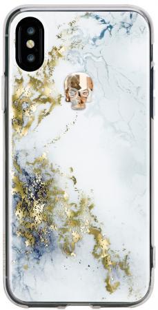 Накладка Bling My Thing Tresure Alabaster. Gold Skull, с кристаллами Swarovski для iPhone X рисунок women sequin backpack mochila lentejuelas teenager girl school bags bling bling lady backpacks bolsa feminina sac a main femme