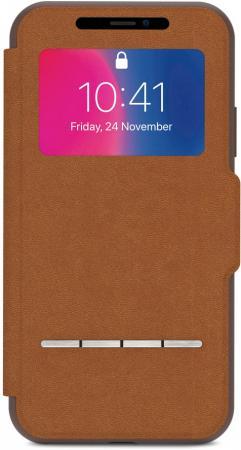где купить Чехол-книжка Moshi SenseCover для iPhone X коричневый 99MO072731 дешево