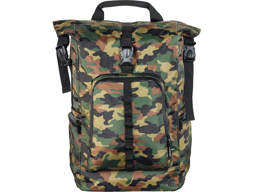 Рюкзак для ноутбука 15.6 HAMA Roll-Top полиуретан зеленый/камуфляж 00101820 рюкзак с отделением для ноутбука hama all out louth forest check 26 л зеленый серый 00129219