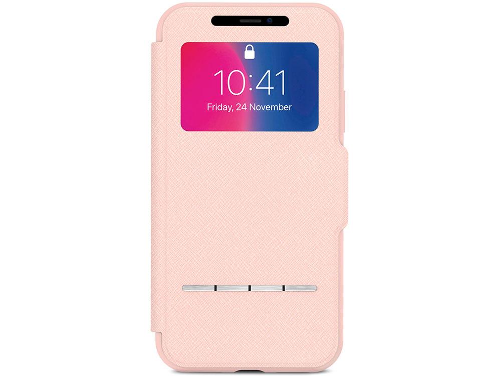 Чехол-книжка для iPhone X Moshi SenseCover Pink флип, искусственная кожа
