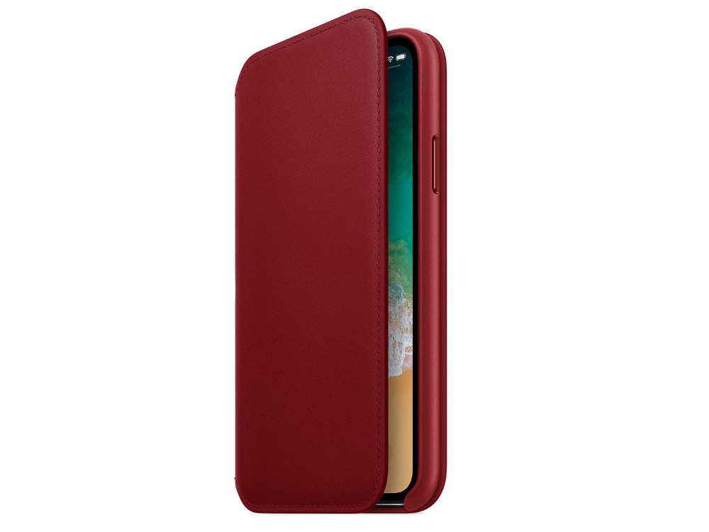 Чехол-книжка для Apple iPhone X Apple MRQD2ZM/A Red флип, кожа аксессуар чехол для apple iphone x innovation silicone case red 10302