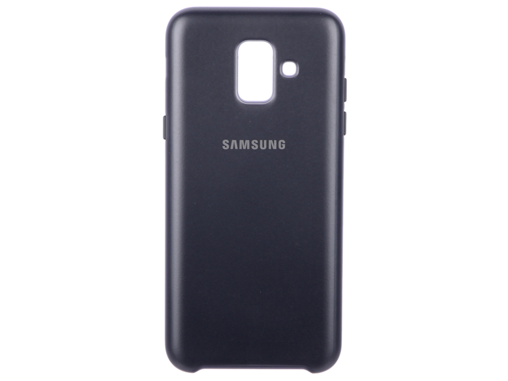 Чехол-накладка для Samsung Galaxy A6 (2018) Dual Layer Cover (EF-PA600CBEGRU) Black клип-кейс, полиуретан, поликарбонат чехол флип кейс samsung для samsung galaxy a6 2018 wallet cover золотистый ef wa605cfegru