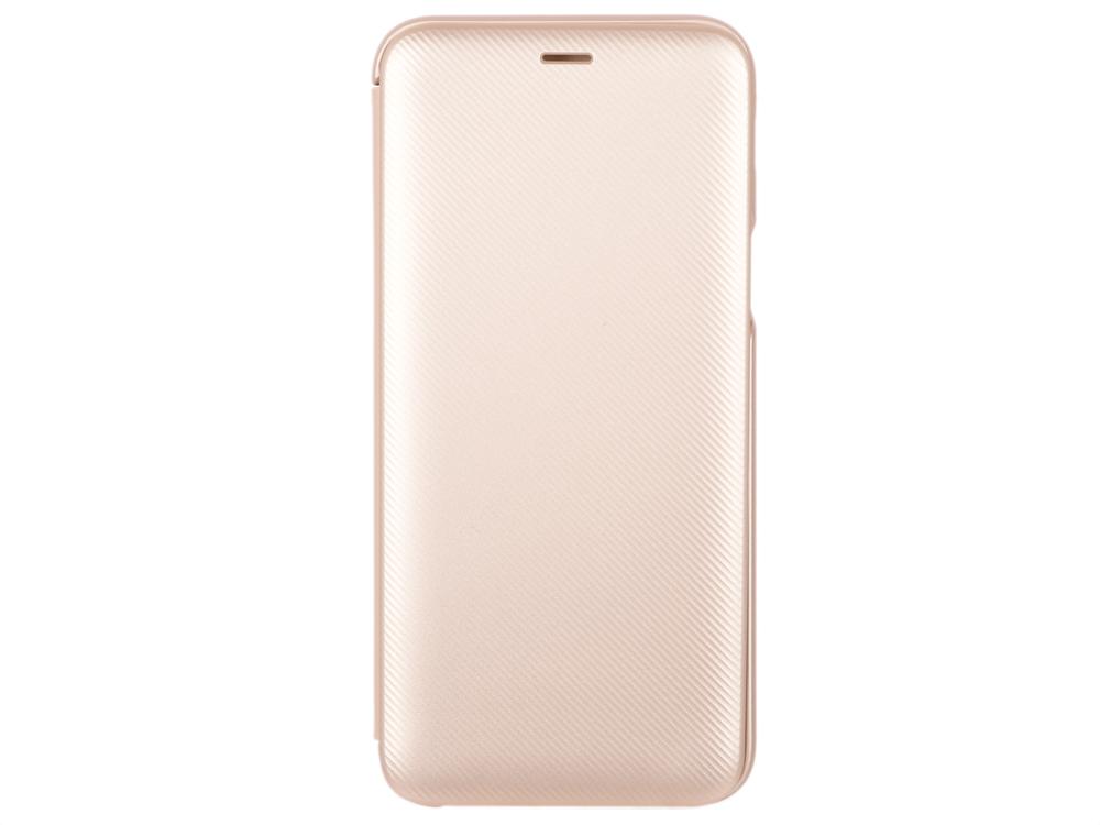 Чехол-обложка для Galaxy A6 (2018) Samsung EF-WA600CFEGRU Gold для Galaxy A6 (2018) флип, полиуретан, поликарбонат чехол крышка skinbox diamond для samsung galaxy a6 2018 черный