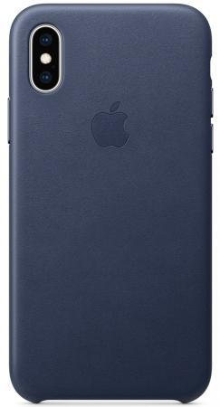 Чехол-накладка для iPhone XS Apple Leather Case Dark Blue клип-кейс, кожа