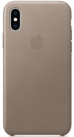 Накладка Apple Leather Case для iPhone XS платиново-серый MRWL2ZM/A чехол apple leather case для iphone x платиново серый