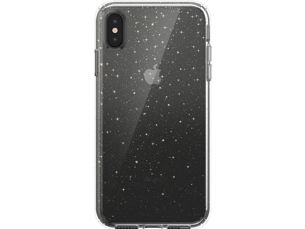 Чехол Speck Presidio Clear + Glitter для iPhone XS Max. Материал пластик. Цвет прозрачный/золотой. аксессуар чехол 13 0 speck presidio clear для apple macbook pro 13 black 91219 5446