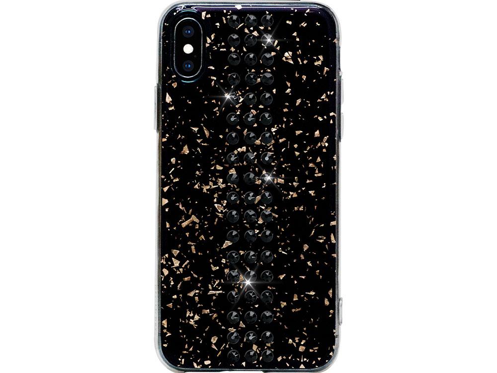 Чехол Bling My Thing для iPhone XS/X, с кристаллами Swarovski. Материал пластик. Коллекция Stripe (ipxs-st-bk-jet)