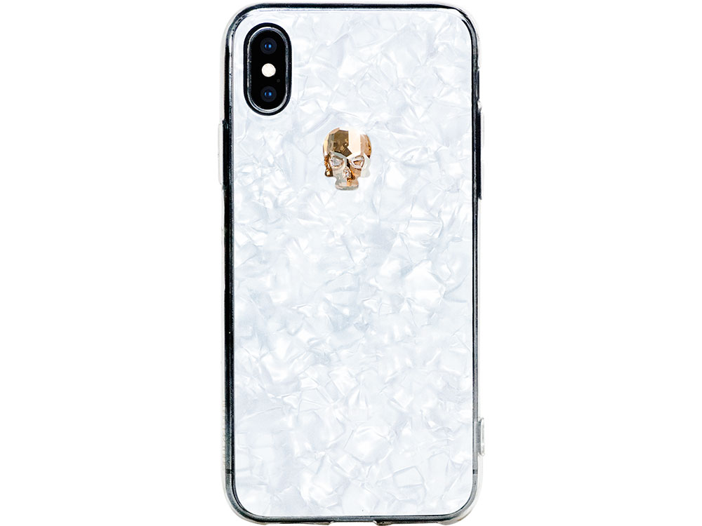 Чехол Bling My Thing для iPhone XS/X, с кристаллами Swarovski. Материал пластик. Коллекция Treasure, Дизайн Gold Skull белый чехол bling my thing для iphone x пластик черный ipx lp bk non