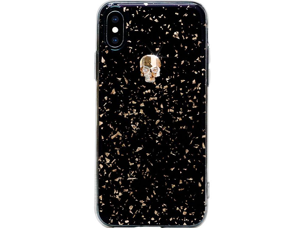 Чехол Bling My Thing для iPhone XS/X, с кристаллами Swarovski. Материал пластик. Коллекция Treasure, Дизайн Gold Skull черный