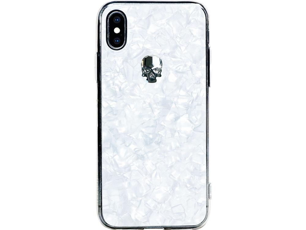 Чехол Bling My Thing для iPhone XS/X, с кристаллами Swarovski. Материал пластик. Коллекция Treasure, Дизайн Silver Skull белый чехол bling my thing для iphone x пластик черный ipx lp bk non
