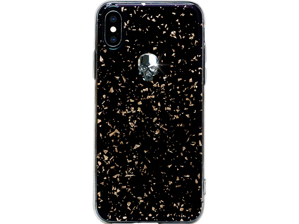 Чехол Bling My Thing для iPhone XS/X, с кристаллами Swarovski. Материал пластик. Коллекция Treasure, Дизайн Silver Skull черный