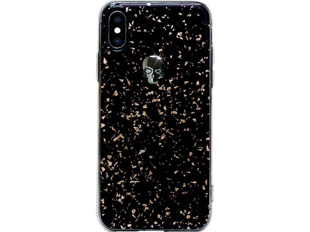 Чехол Bling My Thing для iPhone XS/X, с кристаллами Swarovski. Материал пластик. Коллекция Treasure, Дизайн Jet Hematite Skull черный чехол bling my thing для iphone x пластик черный ipx lp bk non
