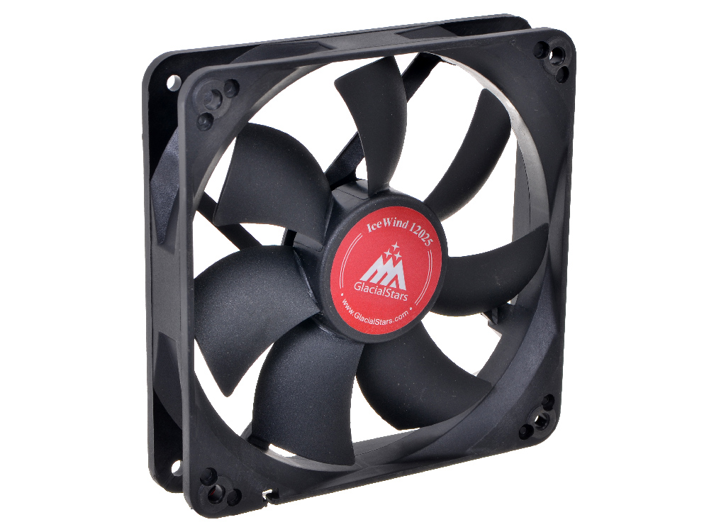 Вентилятор Glacialtech IceWind  GS1225 Вентилятор корп/ 1000rpm/ втулка/ 120х120х25/ 20дба/ 3+4 пин/ 1.2Вт