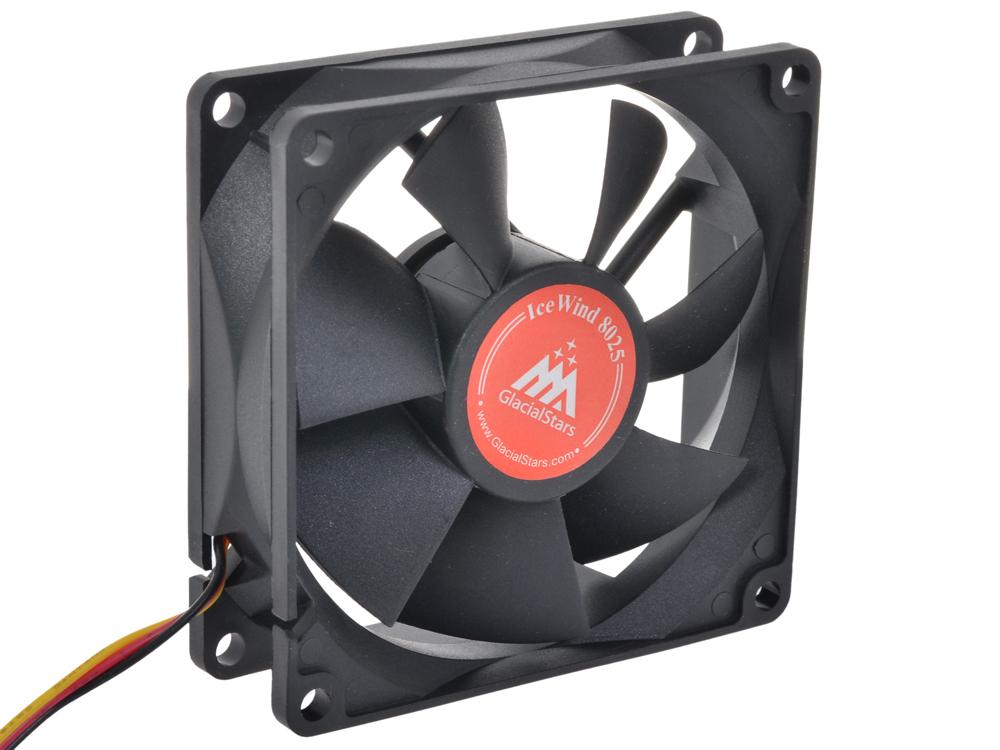 Вентилятор Glacialtech IceWind 8025 (1700rpm/ черный/  втулка/ 80х80х25/ 19дба/ 3+4 пин /1.2Вт)