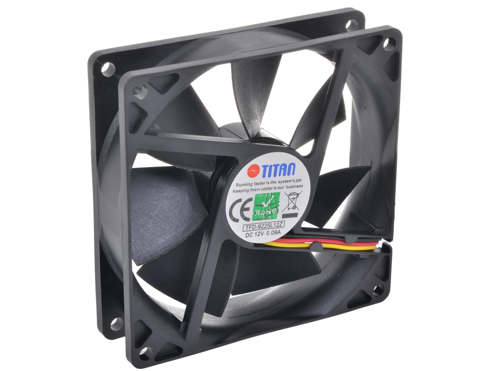 Вентилятор TITAN TFD-9225L12Z 1800 RPM, 1.08W, 31.84 CFM, (22 dBA, 92x92x25 (z-axis, до 60,000 часов) вентилятор titan tfd 4010m12z 40x40x10mm z axis 3 pin 5000 rpm