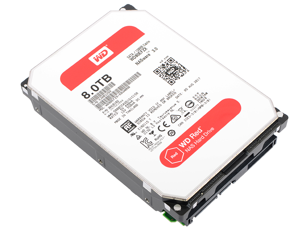 Жесткий диск 8Tb Western Digital WD80EFZX Red SATAIII (3.5, 128Mb, 5400rpm)