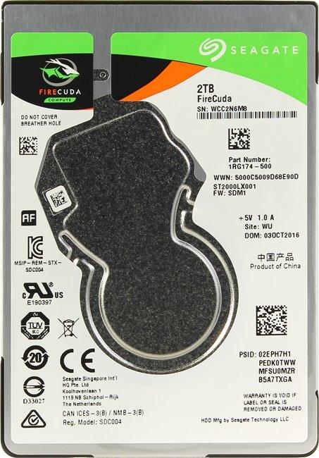 Жесткий диск Seagate Firecuda ST2000LX001 2Tb SATA III/2.5/5400 rpm/128MB 4000gb seagate st4000nm0035 128mb 7200rpm sata3 enterprise se