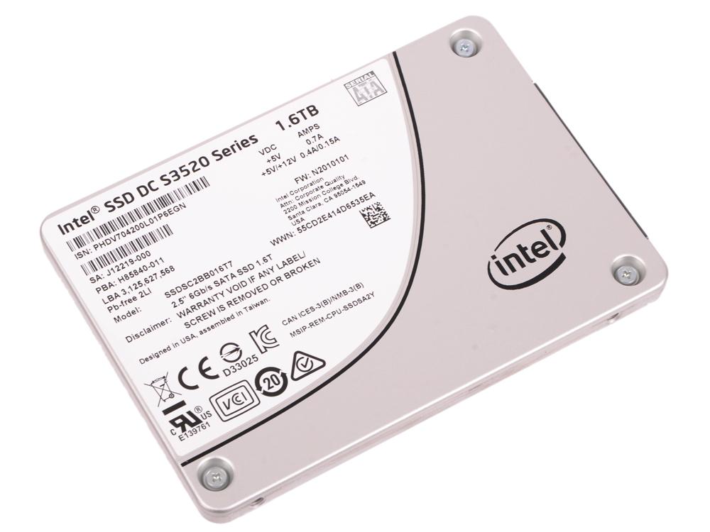 SSD Твердотельный накопитель 2.5 1.6Tb Intel S3520 Read 450Mb/s Write 380Mb/s SATAIII SSDSC2BB016T7 твердотельный накопитель ssd m 2 64gb transcend mts600 read 560mb s write 310mb s sataiii ts64gmts600