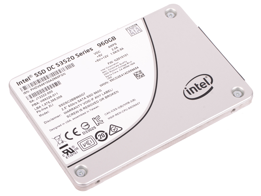SSD Твердотельный накопитель 2.5 960Gb Intel S3520 Read 450Mb/s Write 380Mb/s SATAIII SSDSC2BB960G7 твердотельный накопитель ssd m 2 64gb transcend mts600 read 560mb s write 310mb s sataiii ts64gmts600