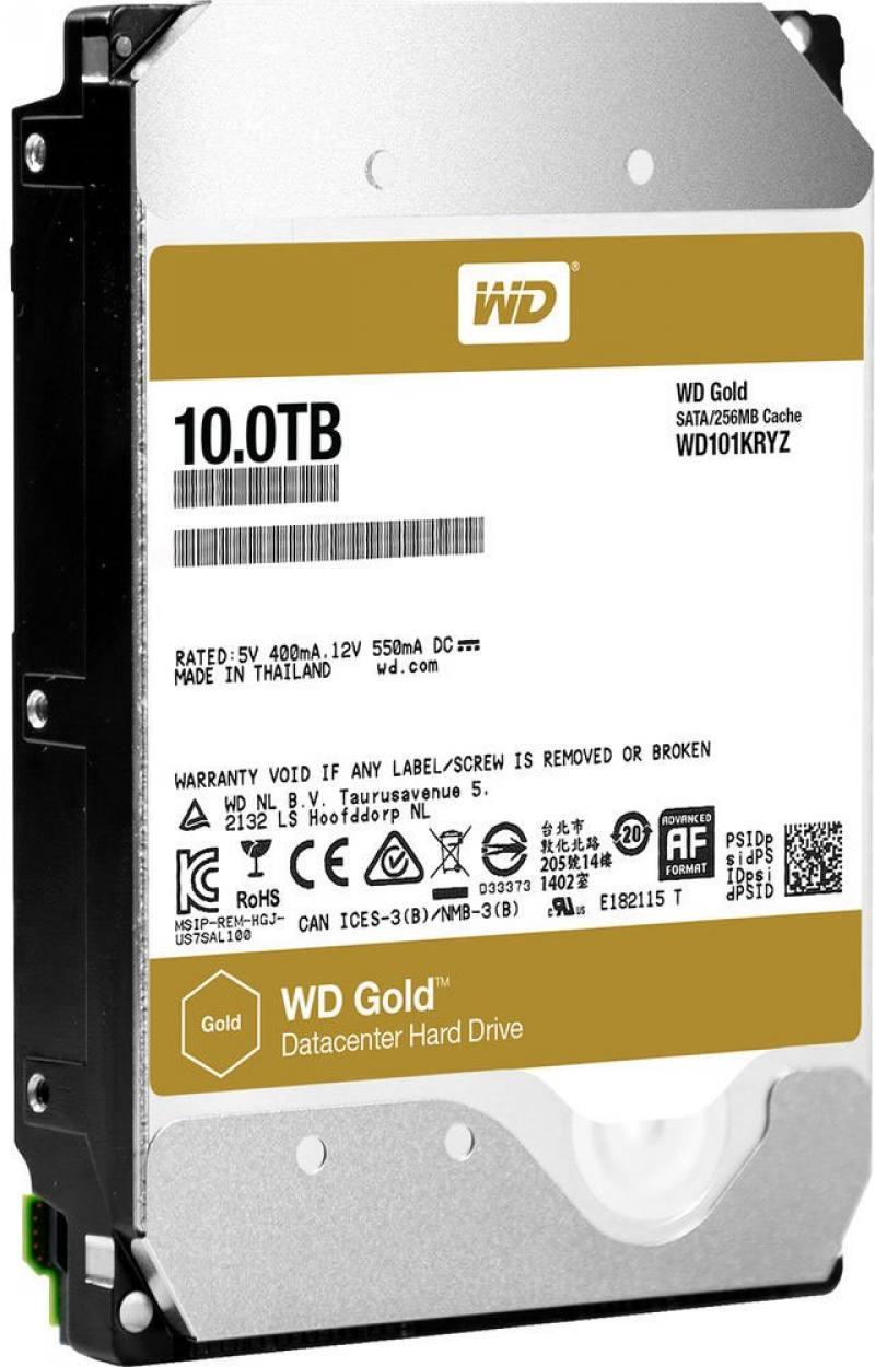 Жесткий диск 3.5 10Tb 7200rpm Western Digital WD Gold SATAIII WD101KRYZ жесткий диск серверный western digital 10tb wd101kryz wd101kryz