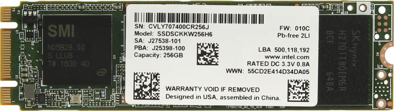 SSD Твердотельный накопитель M.2 256Gb Intel 540s Series Read 560Mb/s Write 480Mb/s SATAIII SSDSCKKW