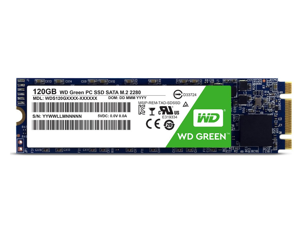 SSD накопитель Western Digital Green WDS120G2G0B 120GB PCI-E/M.2 2280 western digital wd green series интерфейс 120g m 2 твердотельный накопитель wds120g1g0b