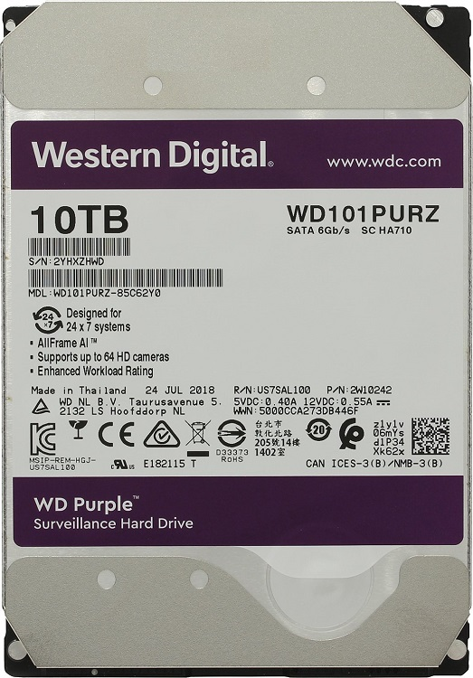 Жесткий диск WD Purple WD101PURZ 10TB SATA III/3.5/7200 rpm/256MB жесткий диск серверный western digital 10tb wd101kryz wd101kryz