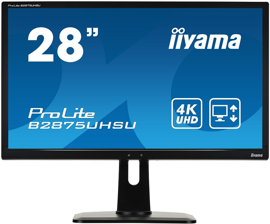 Монитор жидкокристаллический Iiyama B2875UHSU-B1 Монитор LCD 28'' [16:9] 3840x2160 TN, nonGLARE, 300 монитор 28 iiyama g master b2875uhsu b1 tn led 3840x2160 1ms vga dvi hdmi displayport