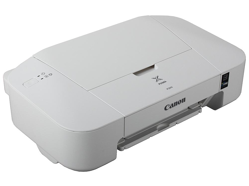 Принтер Canon PIXMA iP-2840 Струйный, 4800x 600, 8,0 изобр./мин для ч/б, 4,0 изобр./мин для цветной, A4, A5, B5, LTR, конверт, фотобумага: 13x18 см, 1