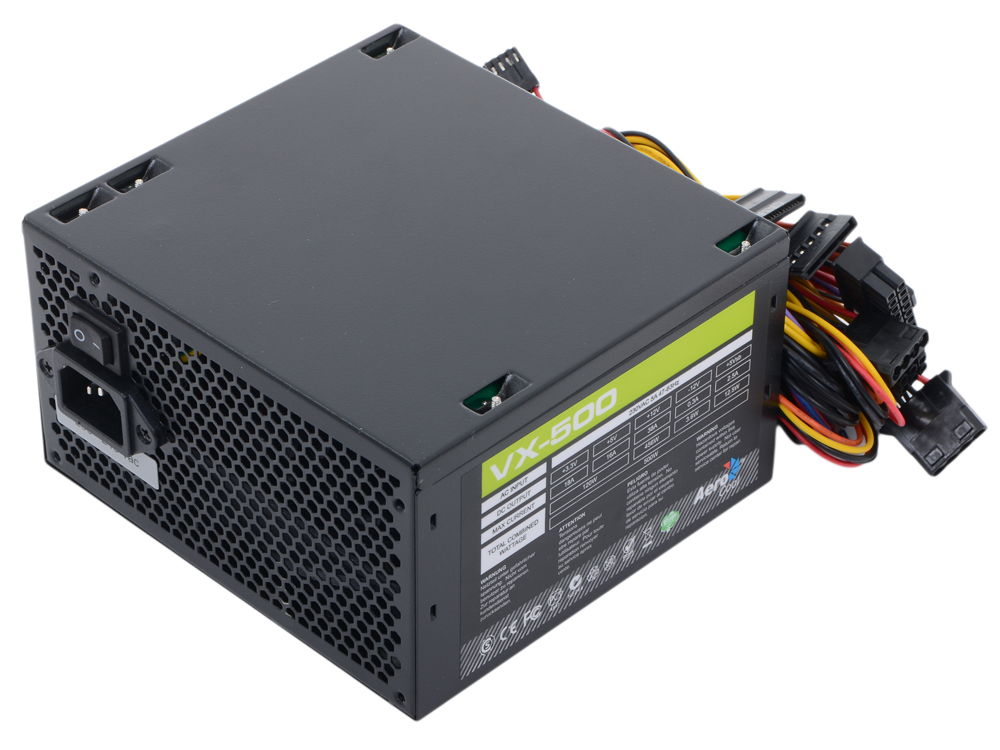 Блок питания Aerocool 500W Retail VX-500 ATX v2.3 Haswell, fan 12cm, 450mm cable, power cord, PCI-E 6P/20+4P/4+4P/SATA x3 /MOLEX x3