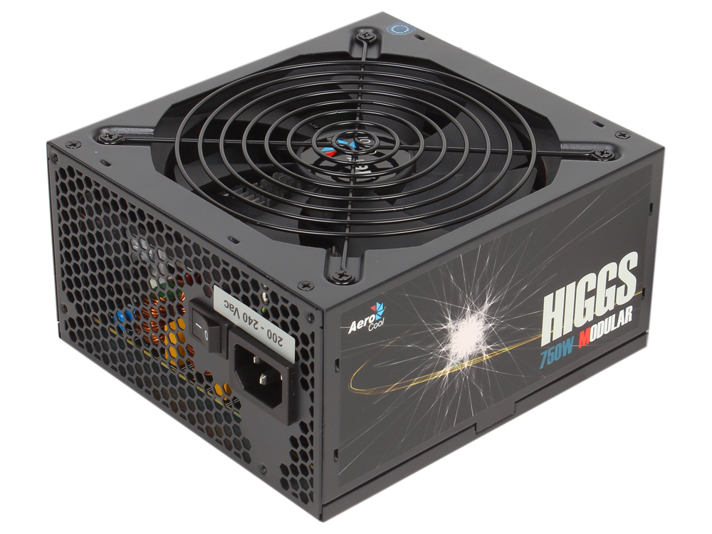 Блок питания Aerocool 750W HIGGS-750W ATX, КПД >90%, модульный, 4x PCI-E (6+2-Pin), 8x SATA, 5x MOLEX 14cm fan.