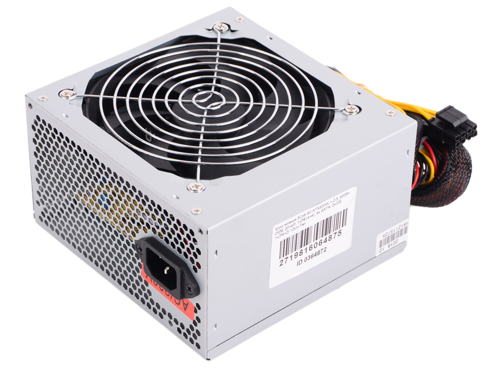 Блок питания 3Cott 3C-ATX500W, 500Вт, OEM, 20+4P, 1xP8 (4+4), 2x SATA, 2xIDE, 1x(P6+2) 12cm Fan блок питания accord atx 1000w gold acc 1000w 80g 80 gold 24 8 4 4pin apfc 140mm fan 7xsata rtl
