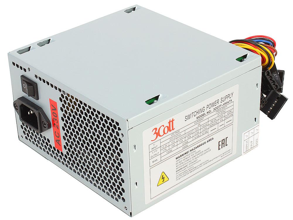 Блок питания 3Cott-450ATX, 450Вт, OEM ATX v.2.0, 20+4P, P4, 4* PATA, 2* SATA, 12CM FAN