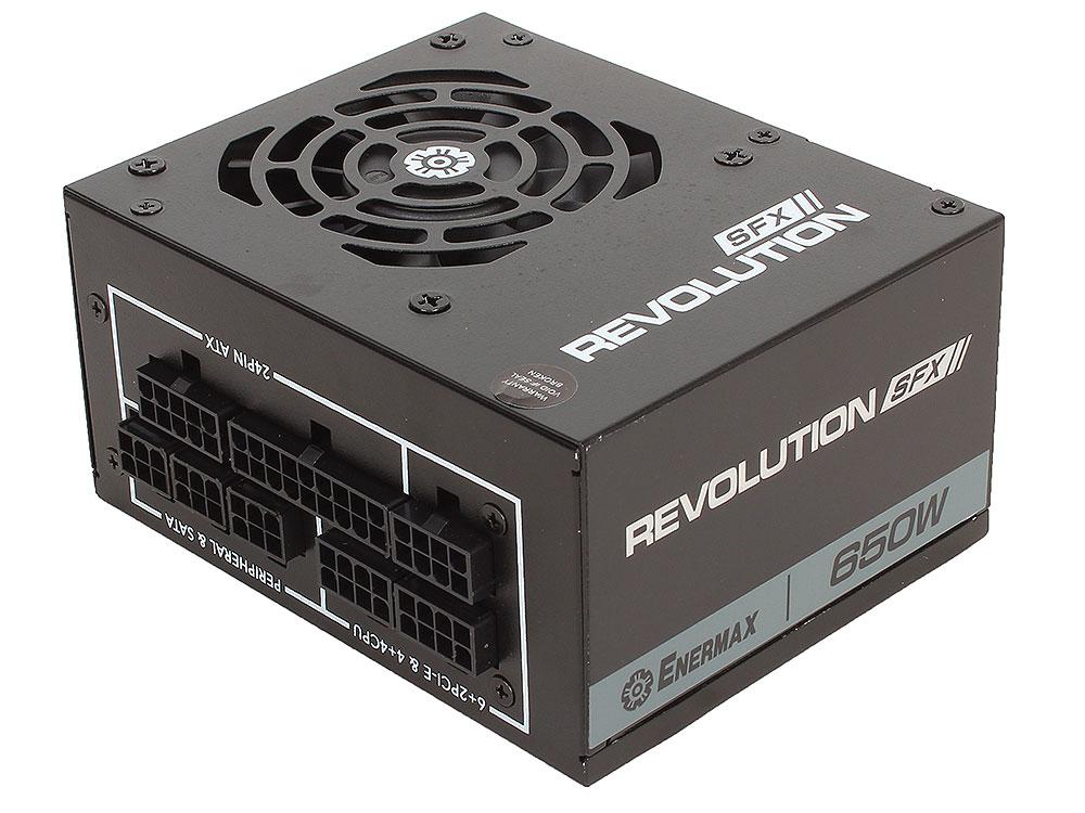 Блок питания Enermax 650W ERV650SWT [REVOLUTION SFX] , SFX v2.4, модульный, 80+ Gold, КПД>92%, 2x PCI-E (6+2-Pin), 6x SATA, 4x MOLEX,