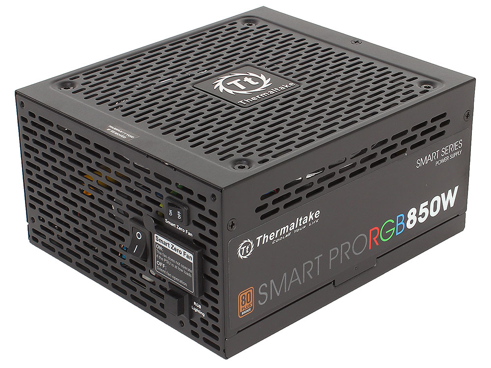 Блок питания Thermaltake Smart Pro RGB 850W (PS-SPR-0850FPCBEU-R) v2.4,A.PFC,80 Plus Bronze,Fan 14 см,Fully Modular,Retail
