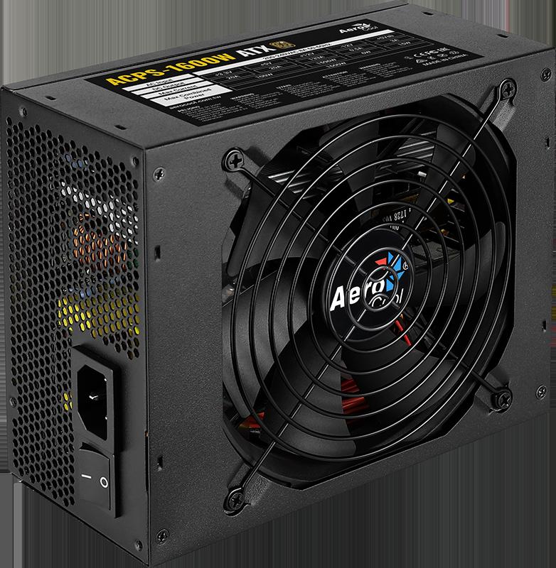 Фото - Блок питания для майнинга Aerocool 1600W Retail ACPS-1600W для VGA , ATX, A.PFC, КПД >87%, 20+4P*1, 4+4P*1, PCIe 6+2P*12, PATA*5, SATA*7, fan 14cm блок питания accord atx 1000w gold acc 1000w 80g 80 gold 24 8 4 4pin apfc 140mm fan 7xsata rtl