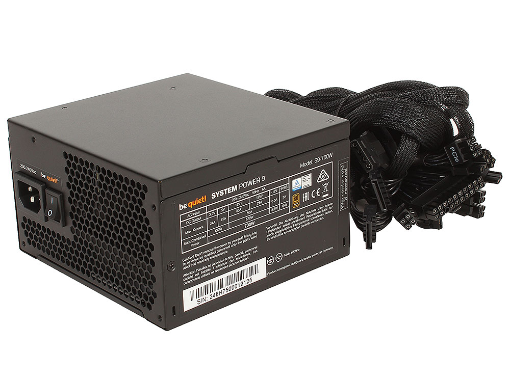 Блок питания BeQuiet System Power 9 700W v2.4, A.PFC, 80 Plus Bronze, Fan 12 cm, Retail блок питания aerocool retail kcas 700w 700w 4713105953282