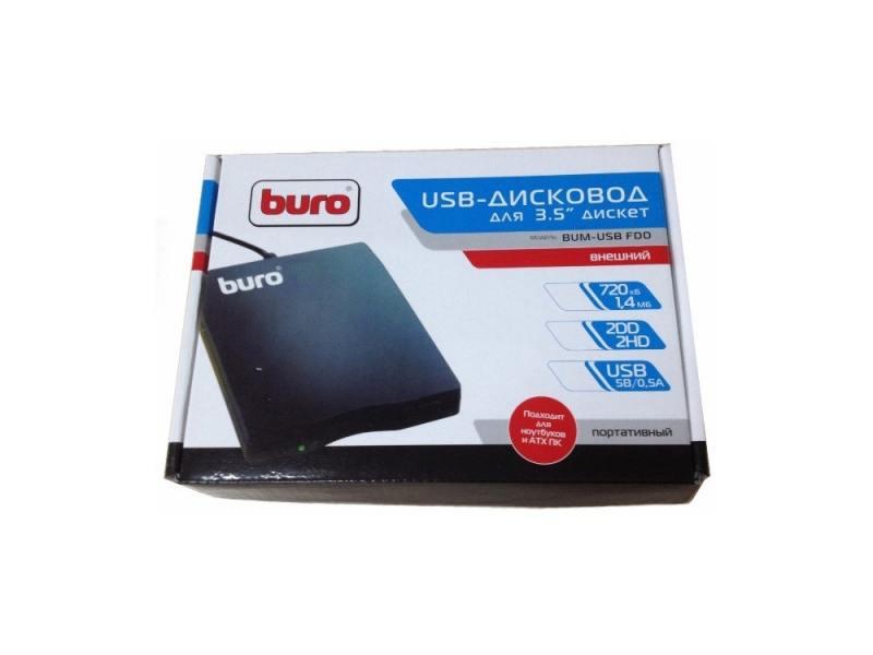 Внешний привод FDD BURO BUM-USB USB 2.0 черный Retail внешний привод blu ray lg bp50nb40 usb 2 0 черный retail