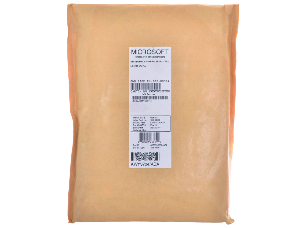 Программное обеспечение Microsoft Get Genuine Kit WinXP Pro SP2 Rus DSP 1 Lic OEI CD 9PF-00084\85