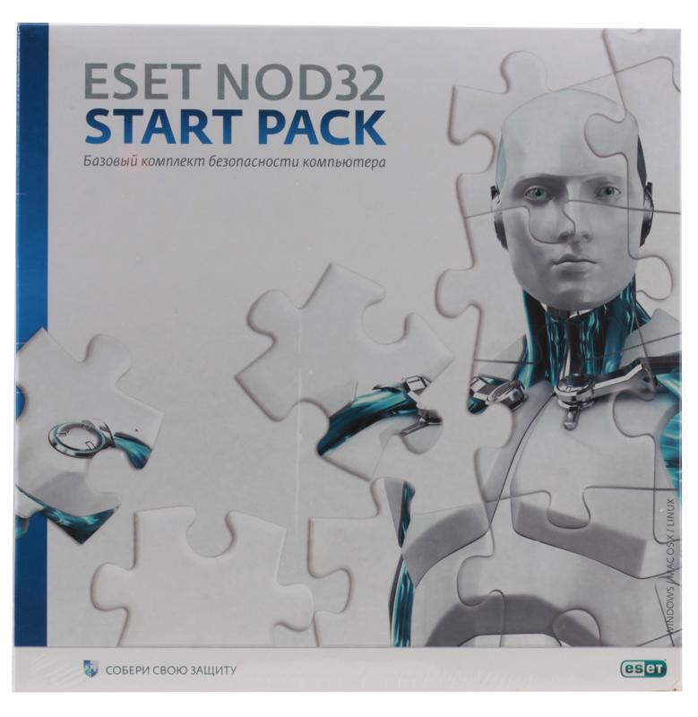 Антивирус ESET NOD32 START PACK- базовый комплект безопасности компьютера,  лицензия на 1 год на 1ПК  NOD32-ASP-NS(BOX)-1-1 антивирус eset nod32 smart security platinum edition лицензия на 2 года nod32 ess ns box 2 1