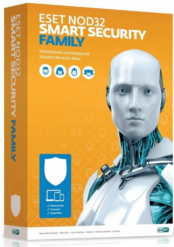 Антивирус ESET NOD32 Smart Security FAMILY - лиц на 1 год или продление на 20 мес 3 устройства антивирус