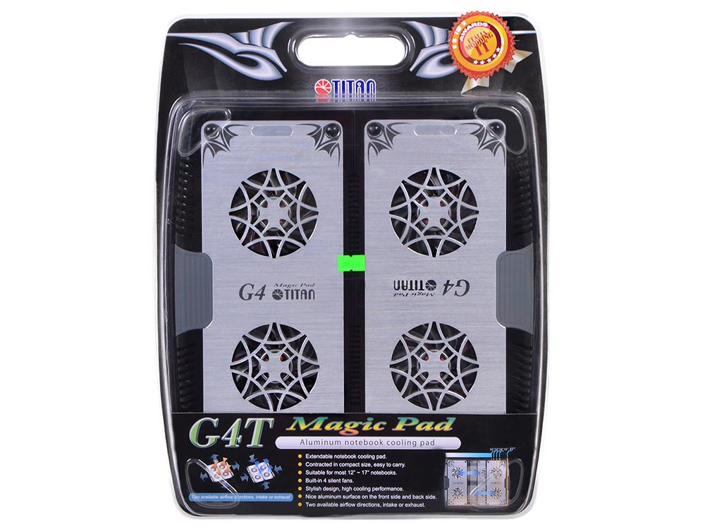 Теплоотводящая подставка под ноутбук Titan TTC-G4TZ laptop 12-17 Алюминий 4 вент USB теплоотводящая подставка для ноутбука 12 17 titan ttc g4tz laptop 12 17 usb серебристый