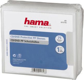 Конверты для CD/DVD, 75 шт., полипропилен, прозрачный, Hama  H-11716 конверты hama для cd dvd бумажные с прозрачным окошком белый 25шт h 51060