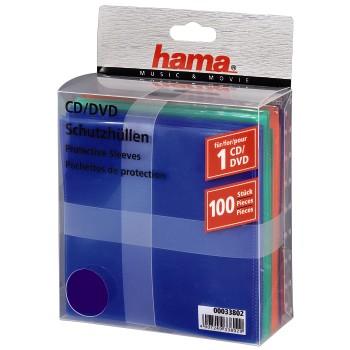 Конверты для хранения CD/DVD 100 шт., полипропилен, 5 цветов*20 шт., Hama  H-33802 энциклопедия таэквон до 5 dvd