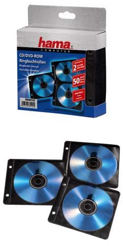 Конверты для 2 CD/DVD, с перфорацией портмоне кольцами, 50 шт., полипропилен, черный/прозрачный, Hama 84102