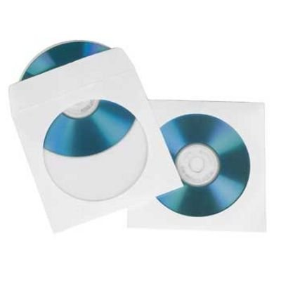Картинка для Конверты для CD/DVD, бумажные с прозрачным окошком, 100 шт., белый, Hama 49995
